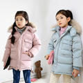 Children Jackets Winter Warm Cotton Coat Padded Girls Fur Collar Baby Down Kids Clothing Outerwear Infant Overcoat Girls Parka