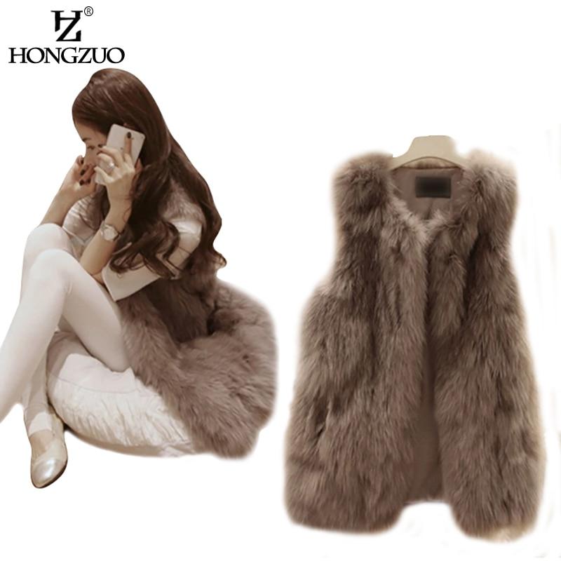 HONGZUO Damesmode Slanke Lange Nepbont Vest Mouwloze v-hals Vest Jas & Jas Voor Vrouwelijke Uitloper Plus Size PC046