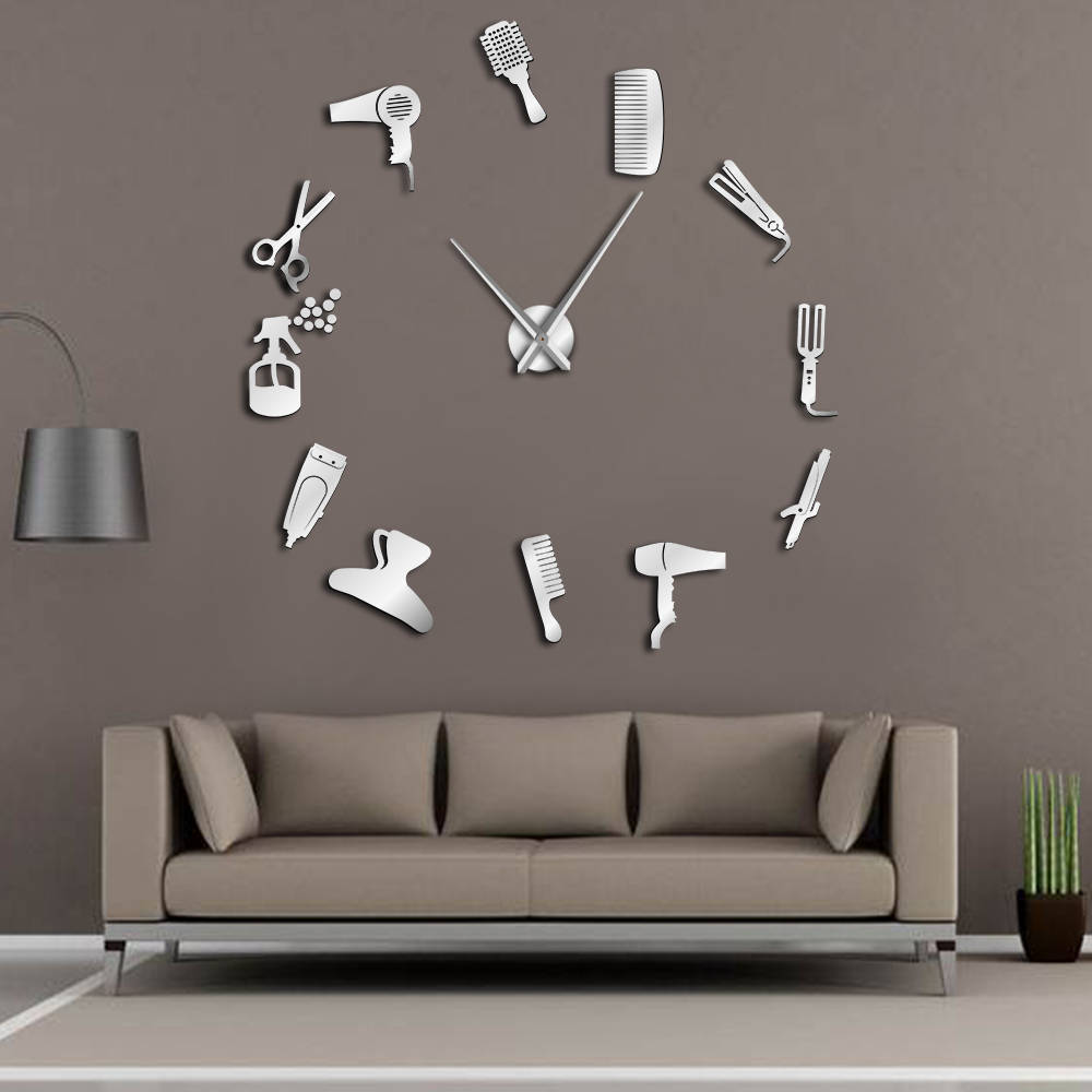 DIY Barber Shop Riesen Wanduhr Mit Spiegel Wirkung Barber Toolkits Dekorative Rahmenlose Uhr Uhr Friseur Barber Wand Kunst