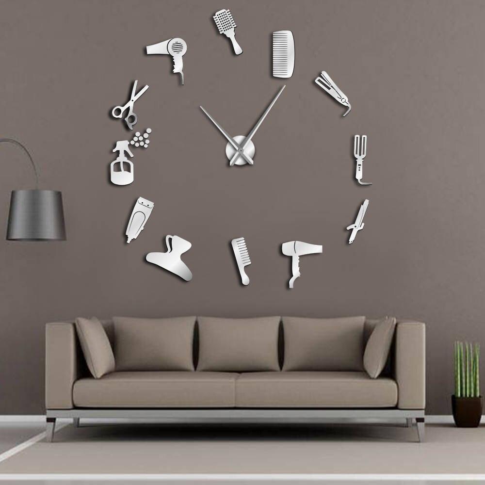 Reloj de pared gigante para peluquería con efecto espejo, kit de herramientas de barbería, reloj decorativo sin marco, reloj para peluquería, peluquero, arte de pared