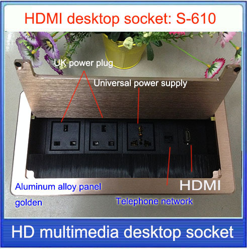 UK Plug Tabletop Socket Hidden HDMI Network RJ Information - Conference table power module with hdmi