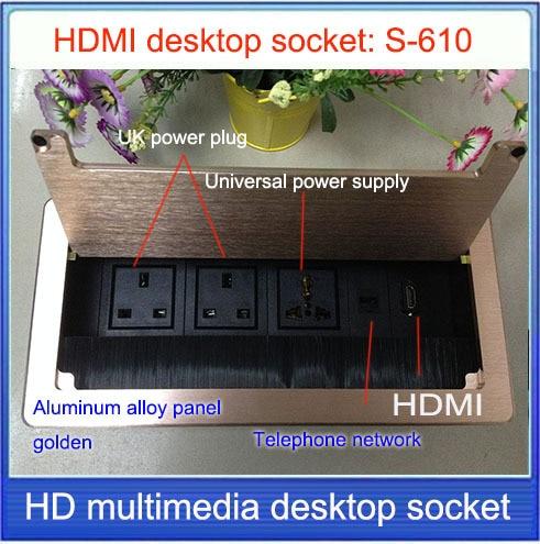 UK Plug Tabletop Socket Hidden HDMI Network RJ Information - Conference table hdmi port