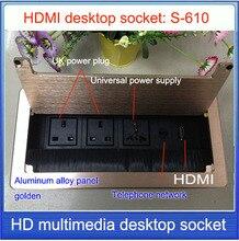 Штепсельная Вилка британского стандарта Настольный Гнездо/скрытые/HDMI Сеть RJ45 информационный выход/для офисов, конференц-залов Высокая-класс настольная розетка S-610