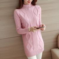 Ms Spring and Autumn Semi-high collar In the long section Solid color Diamond pattern Self-cultivation Pullovers Sweater