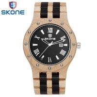 Skone деревянные часы для парня мужской топ роскошные деревянные ремешок для часов кварцевые наручные часы для мужчин удивительные часы часы