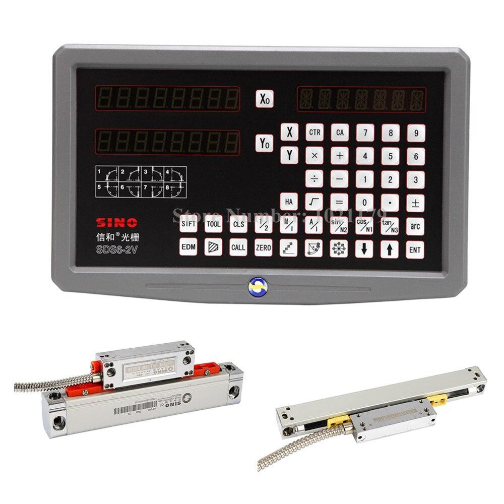 Tour de fraisage 0.005mm 0.001mm SINO DRO kit SDS6-2V 2 axes lecture numérique DRO + KA300 encodeur linéaire + KA500 mince échelle linéaire