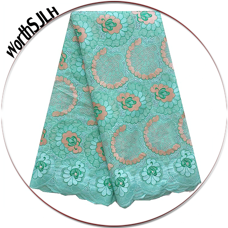 Luxury Cotton African Lace Fabric Swiss Voile High Quality Aqua Orange Latest Nigerian 2018 For Women And Men