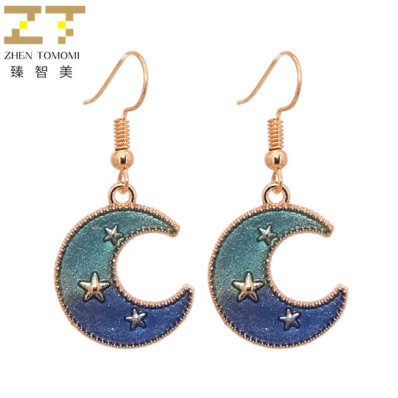 2018 New Arrivals Hot Women's Fashion Starry Sky Earring Bijoux Dream Girls Heart Moon Stars Drop Earrings For Women Jewelry