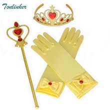 Princess Elsa Anna Belle Dress up Party Accessories 3 Set Gloves, Tiara, Wand Yellow blue rose red 2-10 Years