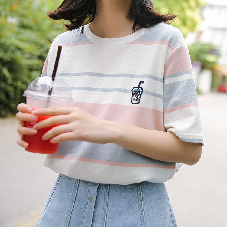 2019 Sweet style Stripe Embroidery Short Sleeve T Shirt Women Summer Casual Loose Tee Shirt Harajuku Femme To in T Shirts from Women 39 s Clothing