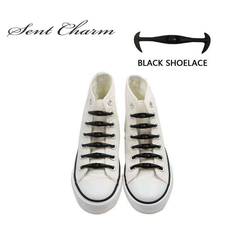 SENTCHARM 12Pcs/pack Black Cool Elastic Silicone Shoelaces No Tie Lazy Shoelaces For All Sneakers Canvas Shoes inov 8 сумка all terrain kitbag black