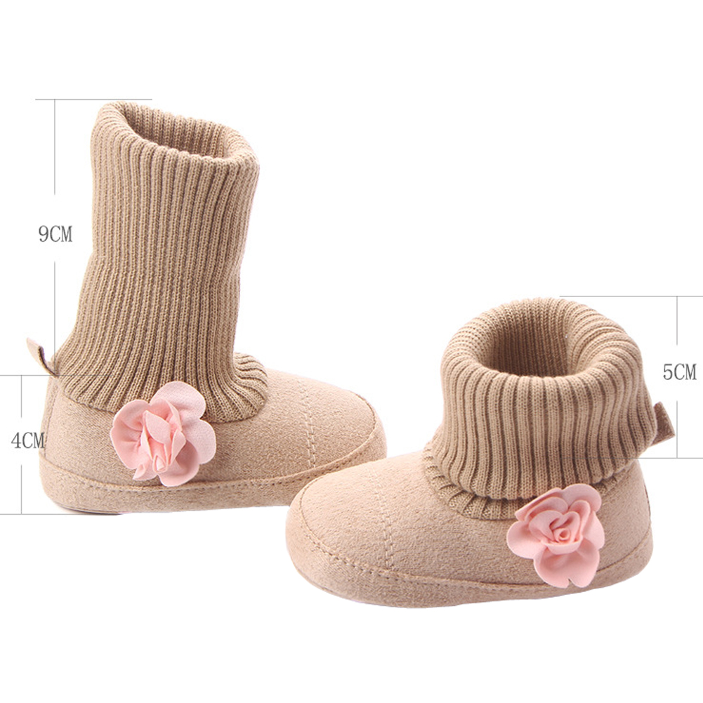 Купить с кэшбэком Baby Girls Boots for Newborn Toddler Socks Pink Flowers New Style Infant Baby Shoes Winter Warm Booties Support Drop Shipping