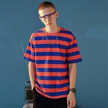Mens spring summer new cotton round neck short-sleeve college wind wide stripe street hip-hop fashion trend wild casual t-shirt