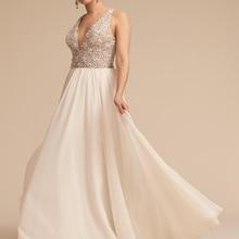 Liyuke A Line Lace Married Wedding Dress 2019 White