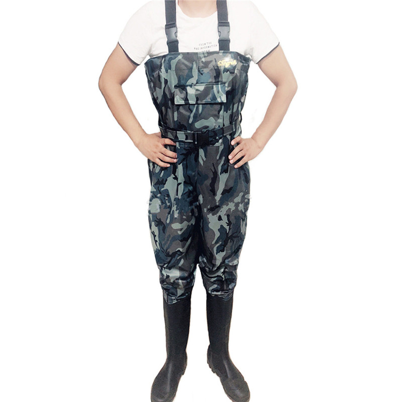High Jump Camouflage Fishing Clothing Waterproof Nylon+PVC Fabric Breathable Waist Height and Belt+Pocket Fishing Waders Overall-in Fishing Clothings from Sports & Entertainment    3