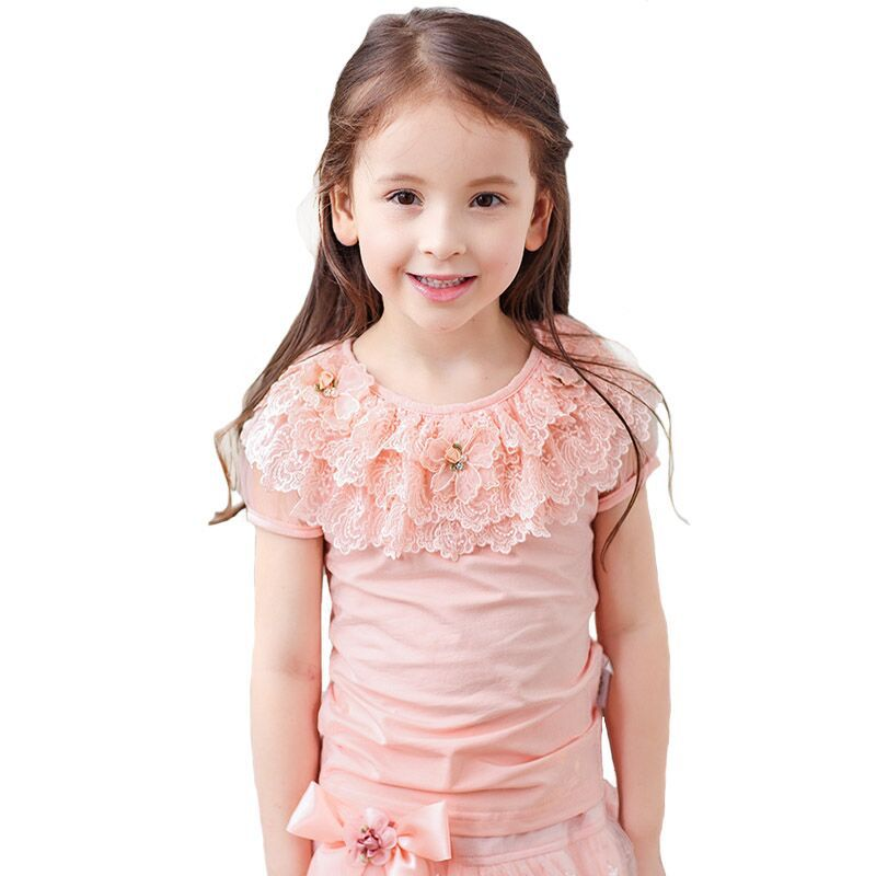Summer Sweet Baby Kids Girls Lace T shirt Fashion Short Sleeve Tops Tees Cotton Blouse Casual Child Clothes DQ225