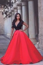 Amazing Cap Sleeve Red And Black Women Dress for Prom V Neck A Line Satin Beautiful Prom Dresses