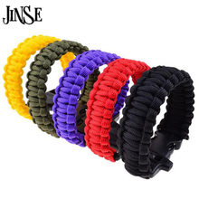 JINSE Outdoor Camping Hiking Sport Survival Bangle Cord Wristbands Emergency Rope Military Emergency Survival Charm Bracelets(China)