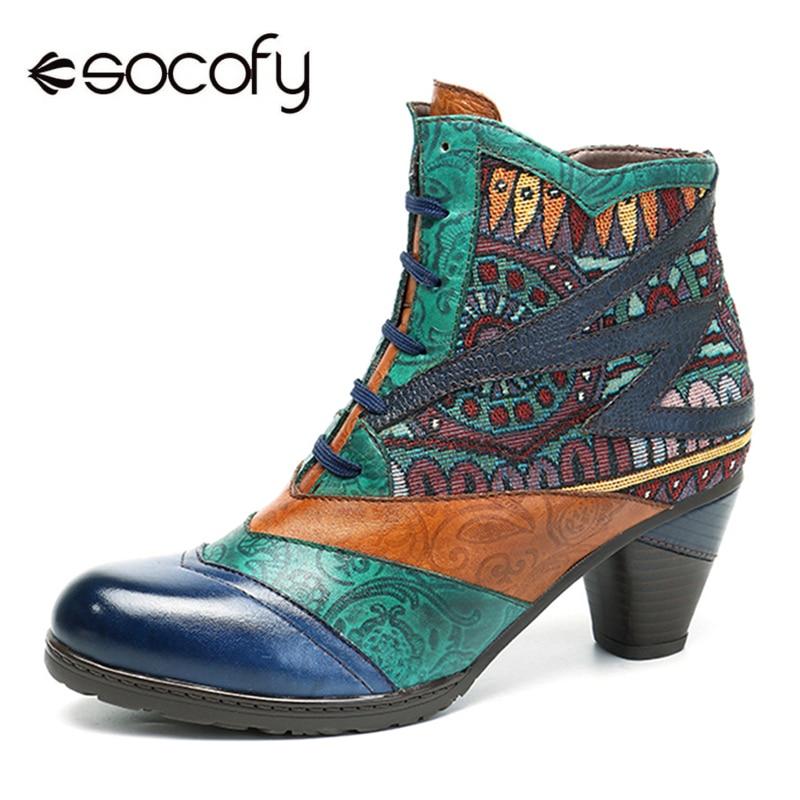 Socofy Böhmischen Spleißen Frauen Stiefel Retro Echtem Leder Schuhe Frau Zipper Mid Heels Stiefeletten Frühling Herbst Frauen Schuhe-in Knöchel-Boots aus Schuhe bei  Gruppe 1