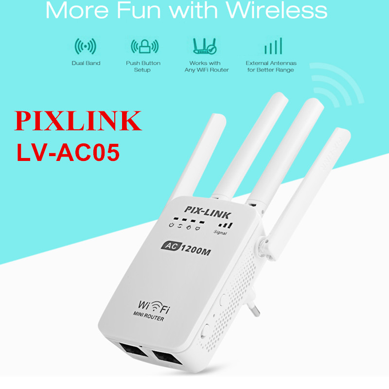 PIXLINK LV AC05 WiFi Range Extender 1200M Dual-band Wireless Router Repeater AP ...