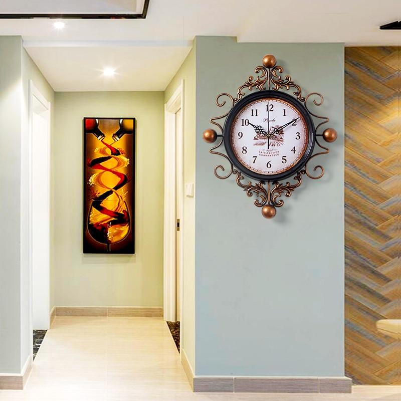 European Retro Style Clock Watch Wall Clocks Horloge Iron art Home Decoration Living Room Quartz Needle