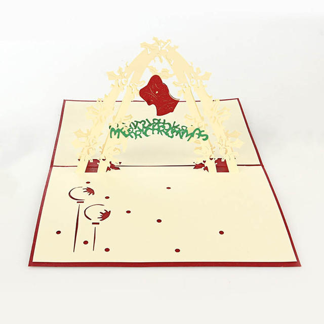 3D Pop Up Handmade Christmas Tree Happy New Year Greeting Card Best ...