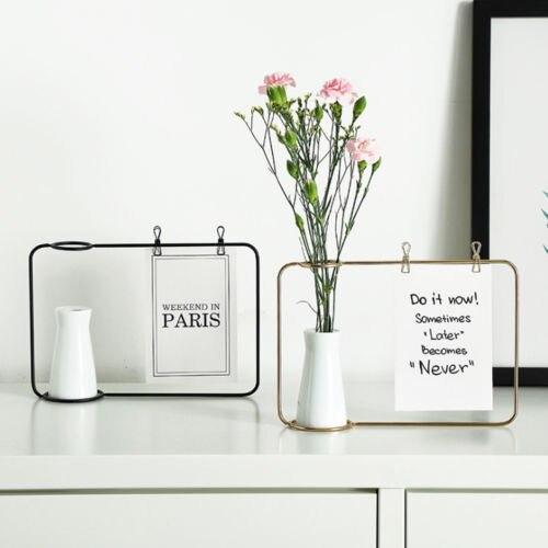 Black Gold Flower vase Shape Photo Holder Stands Table Number ...