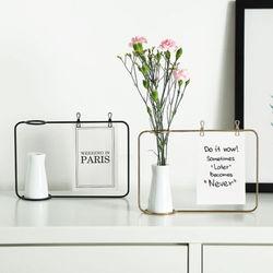 Black Gold Flower vase Shape Photo Holder Stands Table Number Holders Place Card Paper Menu Clips For Home Decoration
