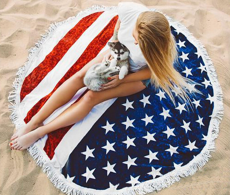 American Flag Printed Beach Mat Summer Tassel Beach Towel