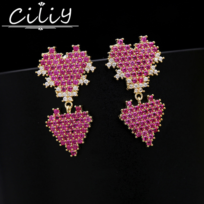 font b luxury b font Rose red AAA Zircon double heart shaped drop earrings for