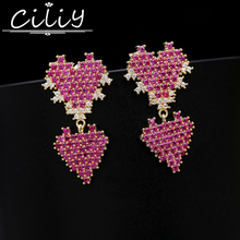 Ciliy 2018 Women Fashion Earrings Luxury Rose Red Gold Double Heart Shaped Drop Bride Wedding Earrings
