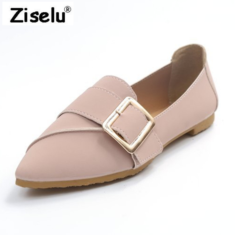 2018 Spring Summer New Vintage Pointed Toe Women Flats PU Leather Slip on Comfort Office Lady Working Shoes Fashion Leisure Shoe cresfimix zapatos women cute flat shoes lady spring and summer pu leather flats female casual soft comfortable slip on shoes