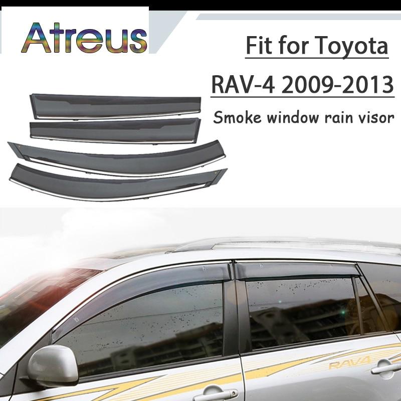 Atreus 1set ABS For 2013 2012 2011 2010 2009 Toyota RAV4 Accessories Car Vent Sun Deflectors Guard Smoke Window Rain Visor kadore toyota 2011 5dr abs