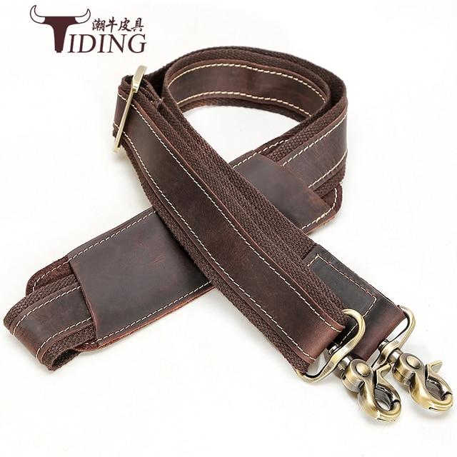men bag strap crazy horse leather 2018 man shoulder crossbody bag straps brand male cow leather briefcase handbag straps for bag