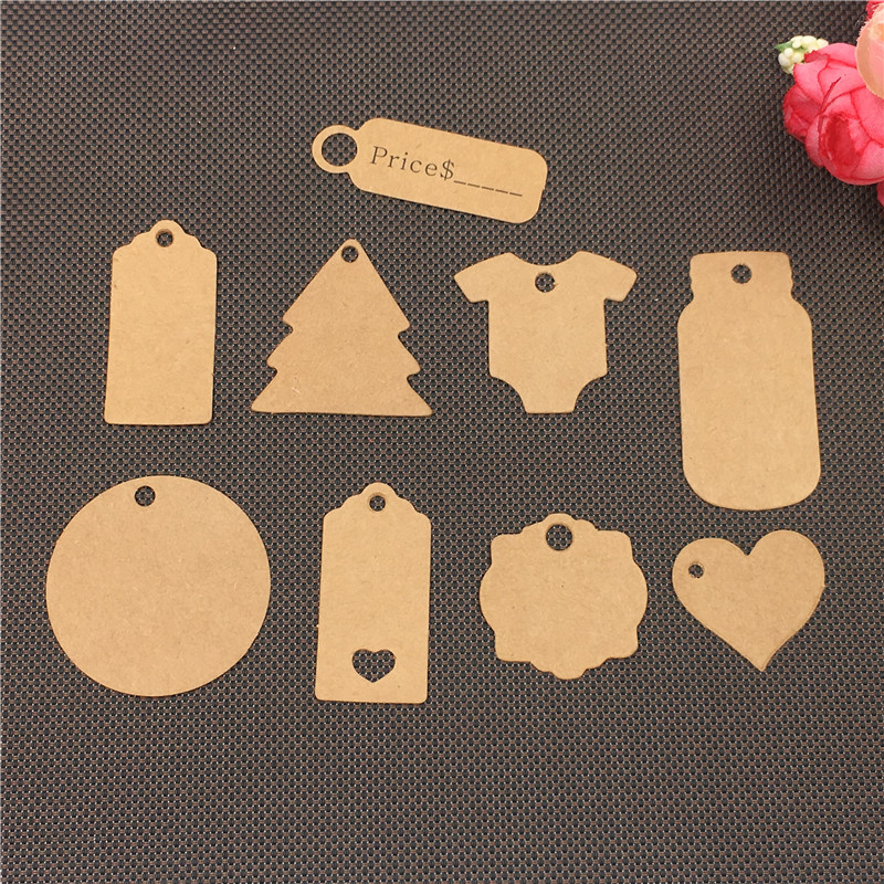 100Pcs/Lot Vintage Multi-shape Blank DIY Kraft Paper Jewelry Gift Tags For Graffiti Clothing Mark Packing  Price Hanging Labels