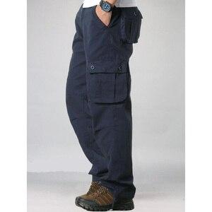 Image 3 - Męskie spodnie Cargo męskie dorywczo wiele kieszeni taktyczne spodnie wojskowe mężczyźni znosić proste spodnie długie spodnie duże rozmiary 42 44