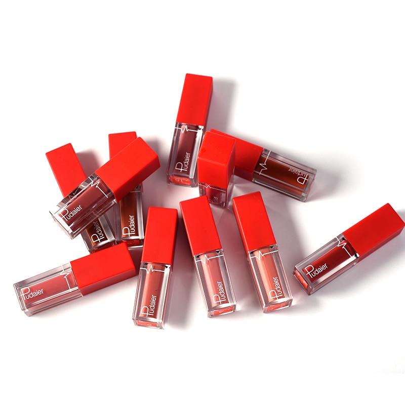 Pudaier 18 Color Liquid Lipstick Matte Lip Gloss Nude Gloss a levre Tint Nude Matte Lipstick Long Lasting Makeup Cosmetics in Lip Gloss from Beauty Health