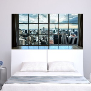 Image 5 - Manhattan New York City Scene City Scape Bedroom TV Wall Sitting Room Background Wall Paper Stickers