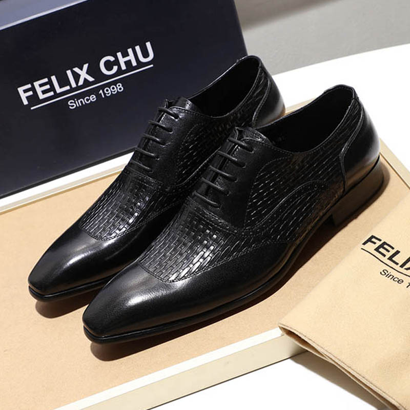 2019 Genuine Leather Oxford Shoes Men Elegant Office Work Pointed Toe Lace Up Mens Business Dress
