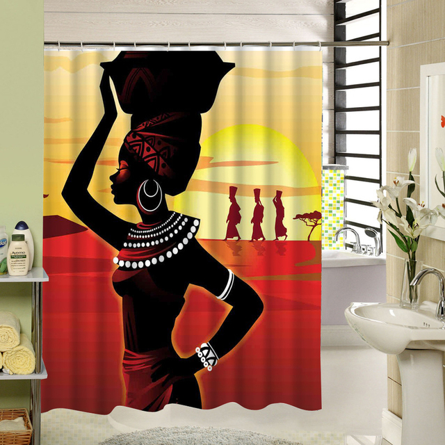 Custom Waterproof African Woman Bathroom Polyester Fabric Shower Curtain Liner Drape 60x72