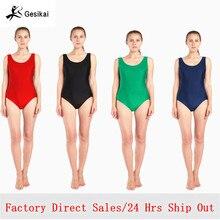 Kadın siyah kırmızı yeşil mavi tankı Leotard yuvarlak yaka bale giyim Lycra Spandex mayoları Bodysuit jimnastik kostüm Unitard
