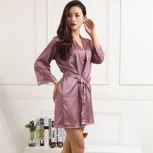 WJ Autumn 2016 Women Silk Satin Robes Sexy Kimono Nightwear Sleepwear Pajama Bath Robe Nightgown With