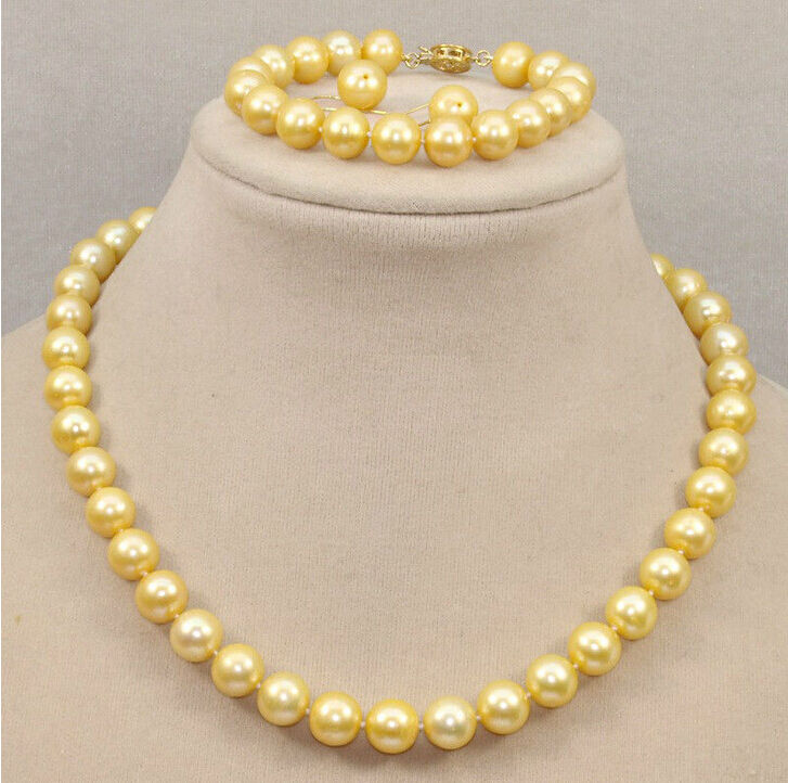 HOT SELL - beautiful hot +10-11mm South Sea Yellow Pearl Necklace Bracelet Earring -Top quality free shippingHOT SELL - beautiful hot +10-11mm South Sea Yellow Pearl Necklace Bracelet Earring -Top quality free shipping