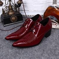 Plus Size Italian Pointed Toe Derby Man Wedding Footwear Alligator Patent Leather High Heels Men's Formal Dress Shoes SL376