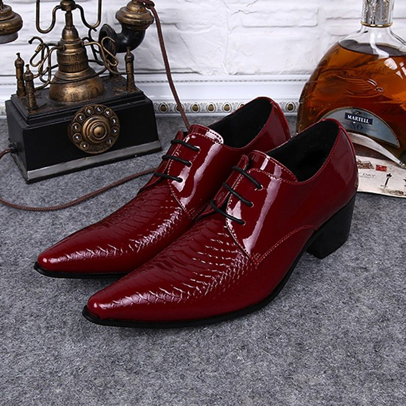 Plus Size Italian Pointed Toe Derby Man Wedding Footwear Alligator Patent Leather High Heels Men's Formal Dress Shoes SL376