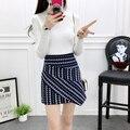 2017 Women Fashion Sexy Lady Schoolgirl College Style Sleepwear Stripe Night Super Mini Pleated Skirt Short Skirt size