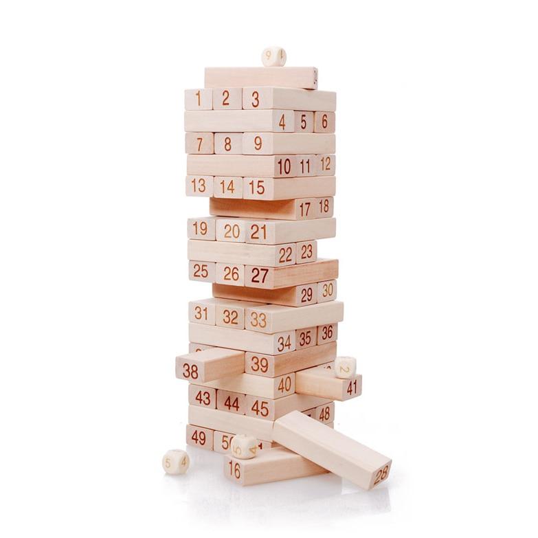 Chanycore Baby Learning Educational Wooden Toys Blocks Jenga Domino 51pcs mwz Geometric Shape Montessori Kids Gifts 4147