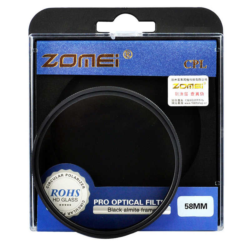 Zomei Penyaring Bentuk Lingkaran 52 Mm 55 Mm 58 Mm 62 Mm 67 Mm 72 Mm 77 Mm Kaca Optik PRO Digital CPL melingkar Polarizer Kamera Filter Lensa