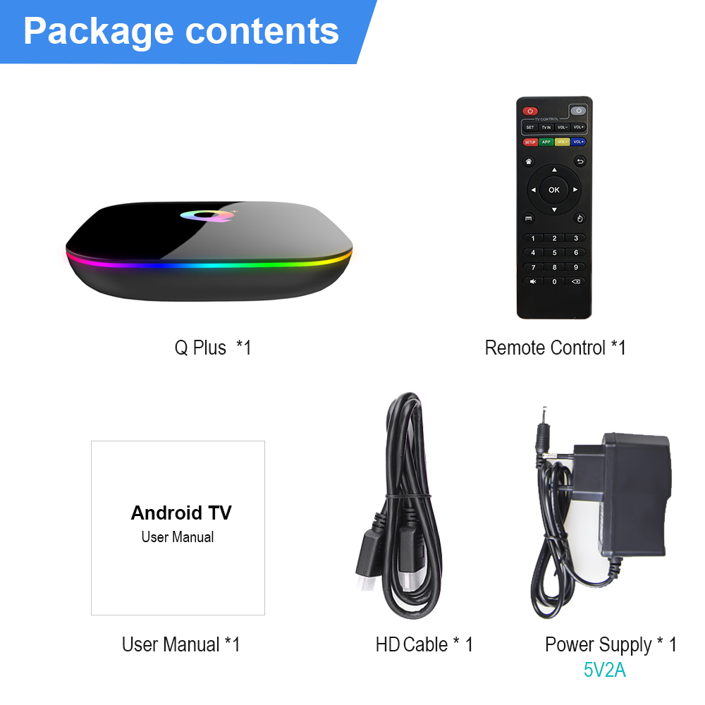 НОВЫЙ Q Plus Smart TV Box Android 9,0 TV Box 4 Гб Ram 32 Гб 64 Гб Rom 6K H.265 USB3.0 Netflix Allwinner H6 PK T95Q s905x2 телеприставка image