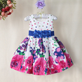 Venta al por mayor vestidos de niña para bodas de Alta calidad de Punto de Impresión con cinturón de seda Vestido de Partido Del Bebé para 1-5 años
